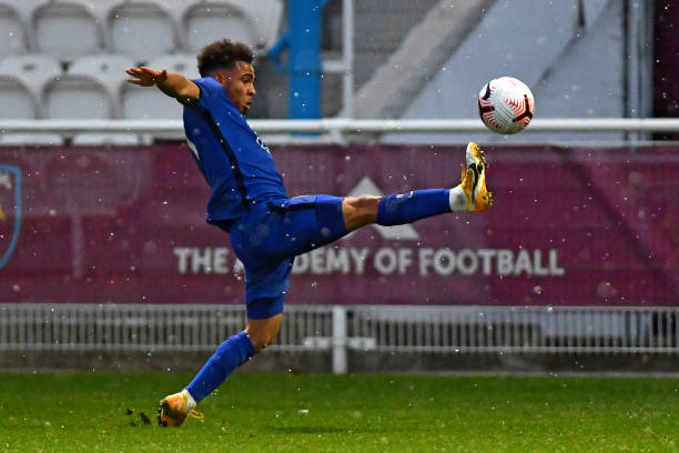 Marcel Lewis of Chelsea lees for the ball during the West Ham United v Chelsea - Premier League 2 match at Rush Green on April 6, 2021 in Romford,...