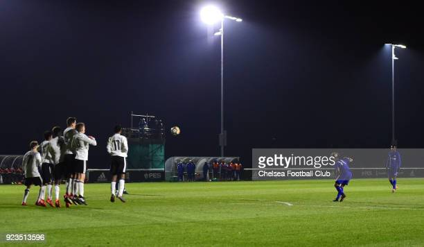 Marcel Lewis of Chelsea takes a free kick during the Fulham and Chelsea U18 Premier League match at Motspur Park on February 23 2018 in New Malden...