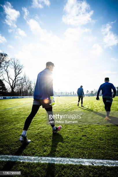 Marcel Lotka of Hertha BSC during the training session at Schenckendorffplatz on January 26, 2021 in Berlin, Germany.