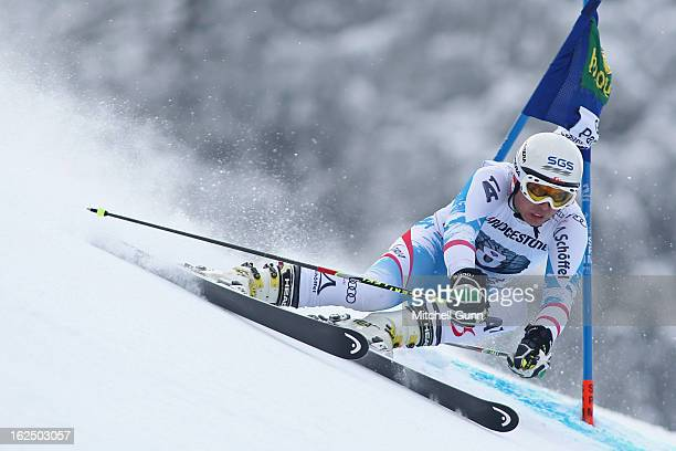 Marcel Mathis of Austria races down the course whilst competing in the Audi FIS Alpine Ski World Cup Men's Giant Slalom on February 24 2013 in...