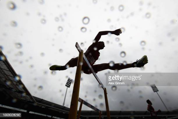 Raphael Holzdeppe of LAZ Zweibruecken arrives for the men's pole vault final during day 2 of the German Athletics Championships at...