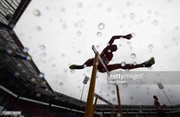 Marcel Matthaes of LG Nord Berlin competes in his men's 400 metres hurdles heat during day 2 of the German Athletics Championships at...
