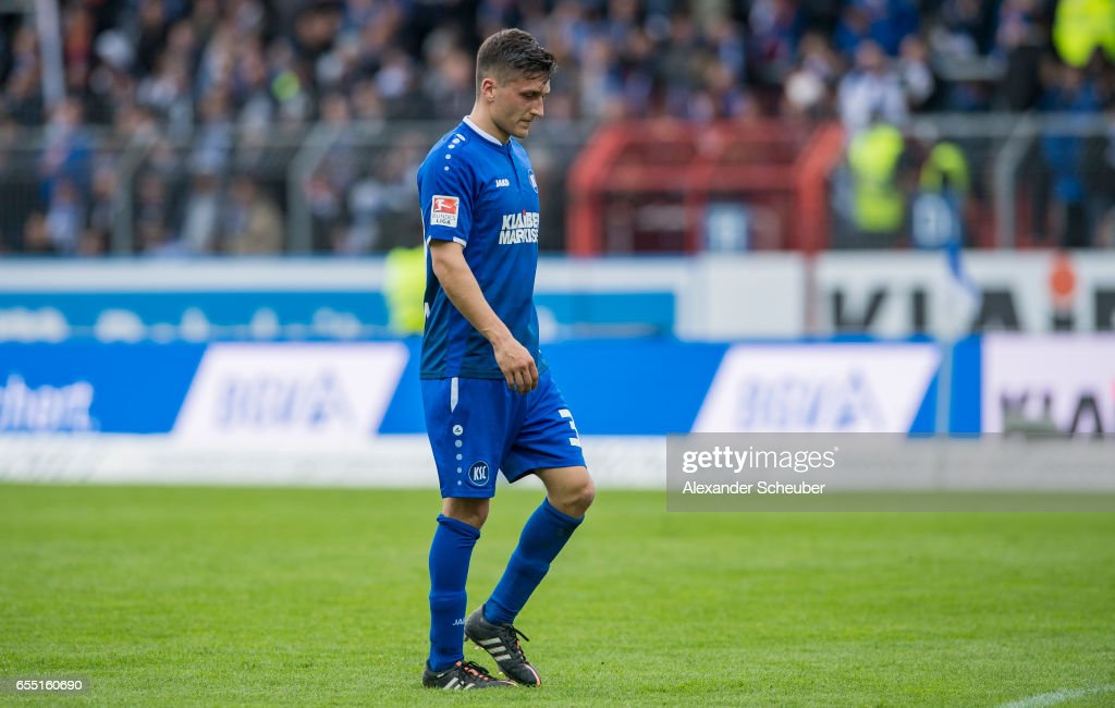 Marcel Mehlem of Karlsruhe reacts during the Second Bundesliga match between Karlsruher SC and Fortuna Duesseldorf at Wildparkstadion on March 19, 2017 in Karlsruhe, Germany.