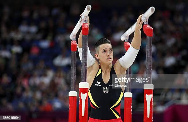 Marcel Nguyen gewinnt die Silbermedaille am Barren Olympische Sommerspiele 2012 London Turnen Männer Barren Finale North Greenwich Arena Olympic...
