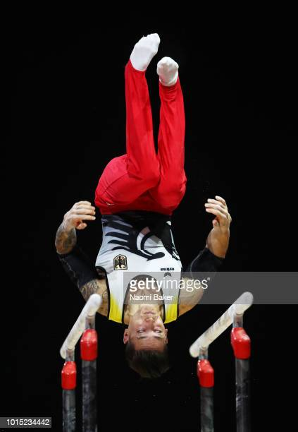 Marcel Nguyen of Germany competes in Parallel Bars in the Men's Team Gymnastics Final during the Gymnastics on Day Ten of the European Championships...