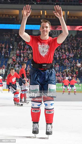 Marcel Noebels of the Eisbaeren Berlin celebrates the home victory with the fans during the game between Eisbaeren Berlin and ERC Ingolstadt on...