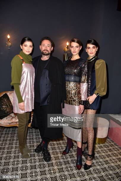 Marcel Ostertag with models during the Marcel Ostertag Fashion Presentation on January 17 2018 in Berlin Germany