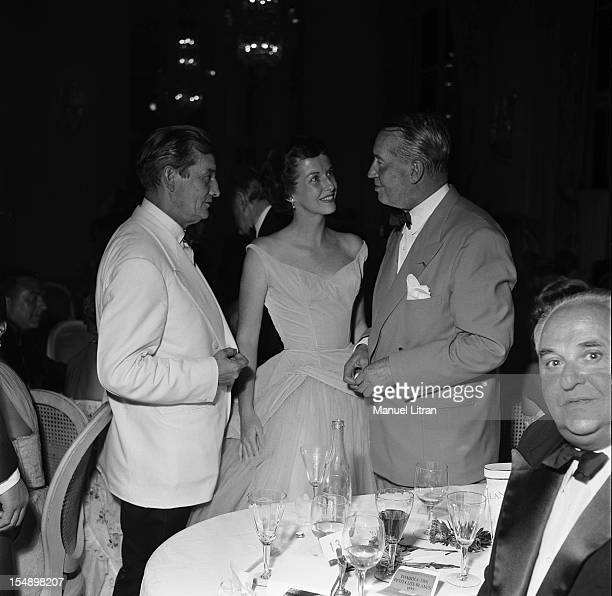 Marcel Pagnol Betsy Blair and Maurice Chevalier at Gala little white beds at the Deauville casino