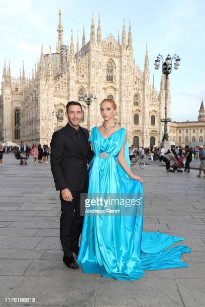 Marcel Remus and Anna Ermakova are seen at Piazza Duomo ahead of the amfAR Gala during the Milan Fashion Week Spring/Summer 2020 on September 21 2019...