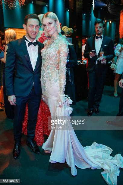 Marcel Remus and Kim Hnizdo poses at the Bambi Awards 2017 party at Atrium Tower on November 16 2017 in Berlin Germany