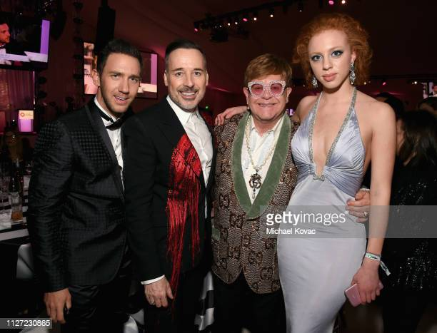 Marcel Remus David Furnish Sir Elton John and Anna Ermakowa attend the 27th annual Elton John AIDS Foundation Academy Awards Viewing Party sponsored...