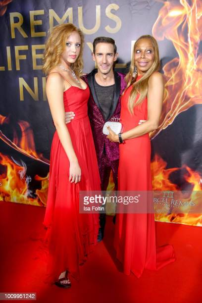 Marcel Remus with Anna Ermakova and her mother Angela Ermakova during the Remus Lifestyle Night on August 2 2018 in Palma de Mallorca Spain