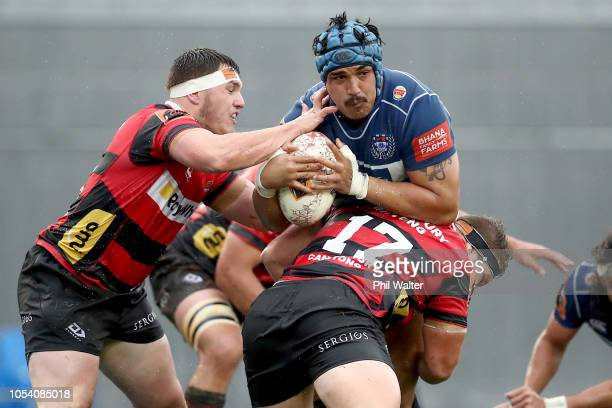 Marcel Renata of Auckland is tackled during the Mitre 10 Cup Premiership Final match between Auckland and Canterbury at Eden Park on October 27 2018...