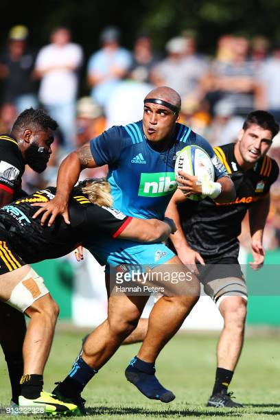 Marcel Renata of the Blues makes a break during the Super Rugby preseason match between the Chiefs and the Blues on February 2 2018 in Te Kuiti New...