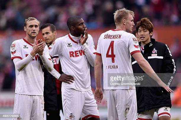 Marcel Risse and Anthony Modeste of 1 FC Koeln look dejected after the Bundesliga match between 1 FC Koeln and Hannover 96 at RheinEnergieStadion on...