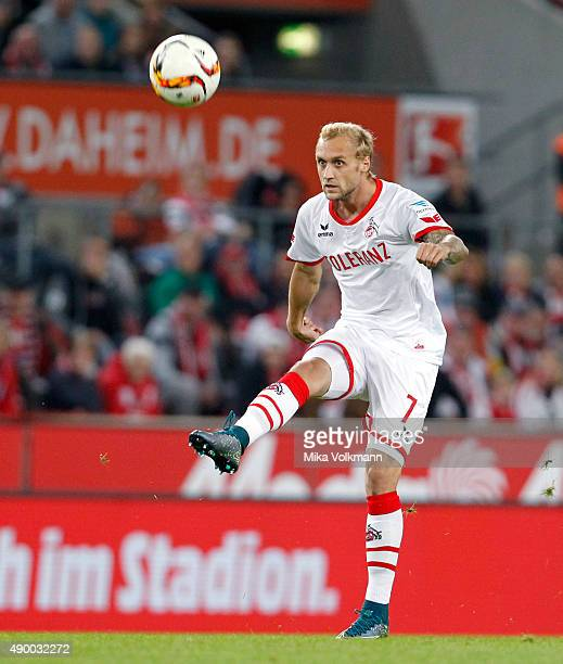 Marcel Risse of Cologne kicks the ball during the Bundesliga match between 1 FC Koeln and FC Ingolstadt at RheinEnergieStadion on September 25 2015...