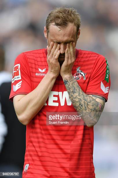 Marcel Risse of Koeln looks dejected after the Bundesliga match between Hertha BSC and 1 FC Koeln at Olympiastadion on April 14 2018 in Berlin Germany