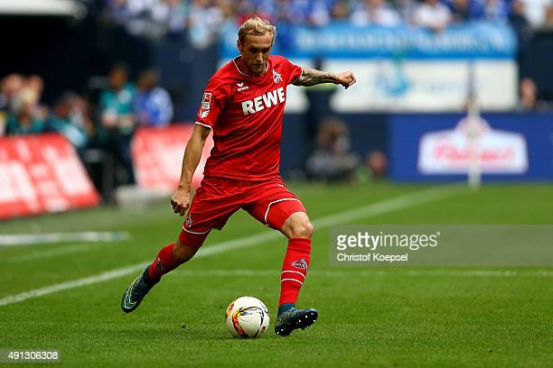 Marcel Risse of Koeln runs with the ball during the Bundesliga match between FC Schalke 04 and 1 FC Koeln at VeltinsArena on October 4 2015 in...