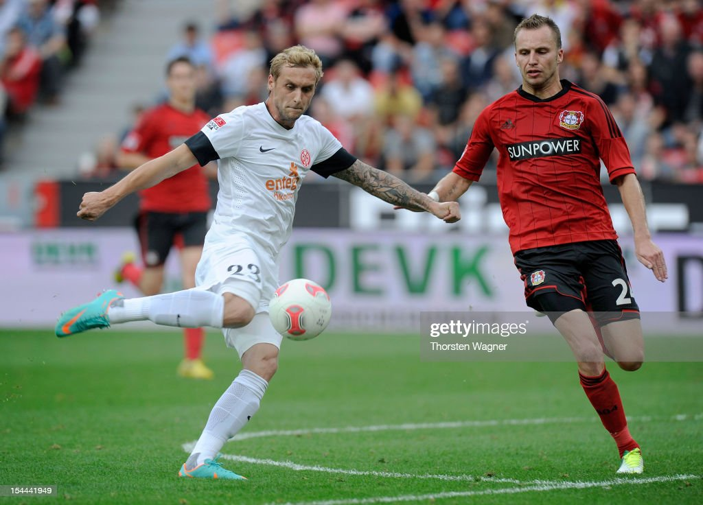 Marcel Risse of Mainz is scoring his teams second goal during the Bundesliga match between Bayer 04 Leverkusen and FSV Mainz 05 at BayArena on October 20, 2012 in Leverkusen, Germany.