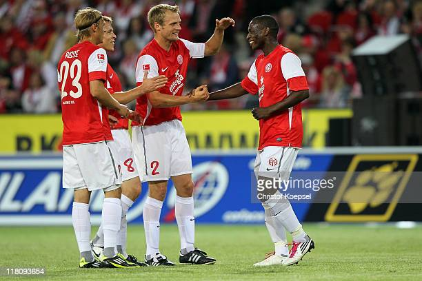 Marcel Risse Radoslav Zabavnik Bo Svensson and Anthony Ujah of Mainz celebrate a goal during the friendly match between FSV Mainz 05 and a Selection...