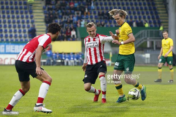 Marcel Ritzmaier of Jong PSV Todd Cantwell of Fortuna Sittard during the Dutch Jupiler League match between Fortuna Sittard and NPSV U23 at the...