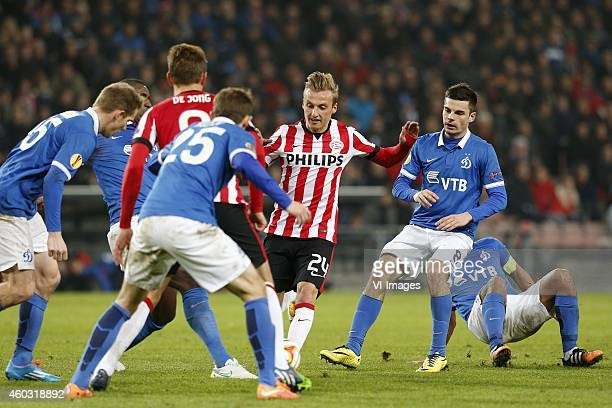 Marcel Ritzmaier of PSV Artur Yusupov of Dinamo Moscow during the UEFA Europa League group match between PSV Eindhoven and Dinamo Moscow on December...