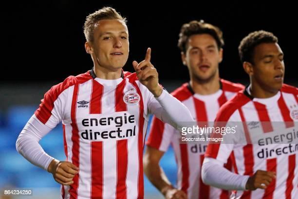 Marcel Ritzmaier of PSV U23 celebrates 1-0 during the Dutch Jupiler League match between PSV U23 v RKC Waalwijk at the de Herdgang on October 20,...