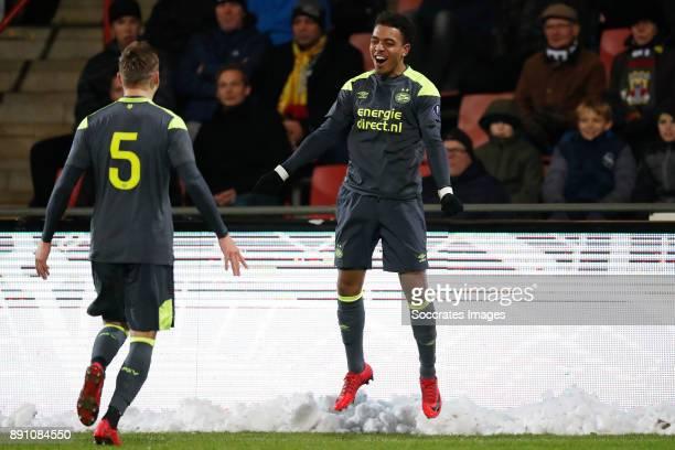 Marcel Ritzmaier of PSV U23 Donyell Malen of PSV U23 Celebrate goal during the Dutch Jupiler League match between Go Ahead Eagles v PSV U23 at the De...