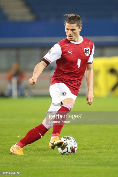 Marcel Sabitzer of Austria controlls the ball during the UEFA Nations League between Austria and Northern Ireland at the Ernst Happel Stadion on...
