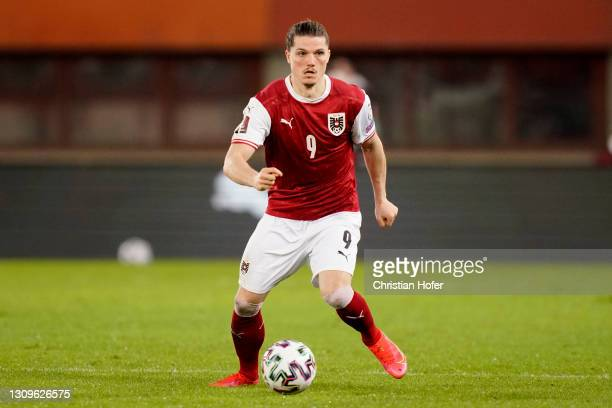 Marcel Sabitzer of Austria on the ball during the FIFA World Cup 2022 Qatar qualifying match between Austria and the Faroe Islands on March 28, 2021...