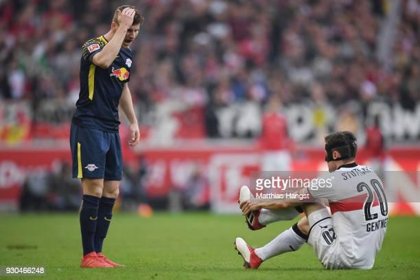 Marcel Sabitzer of Leipzig and Christian Gentner of Stuttgart react during the Bundesliga match between VfB Stuttgart and RB Leipzig at MercedesBenz...