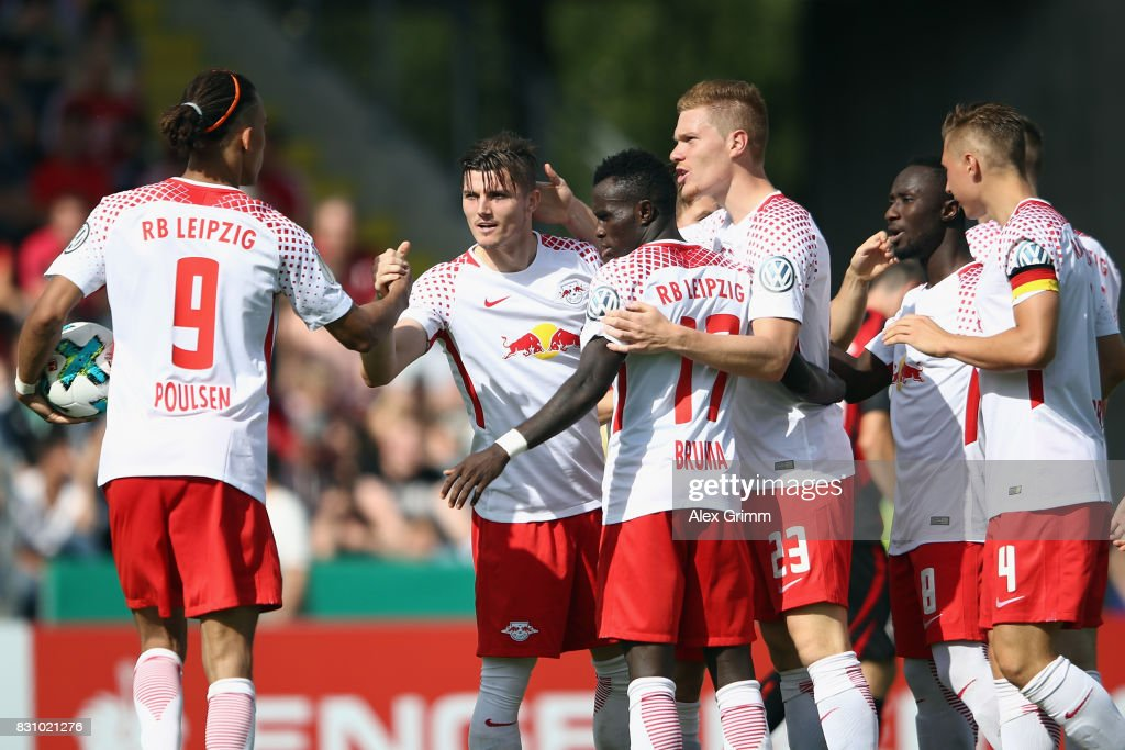 Marcel Sabitzer (2L) of Leipzig celebrates his team's second goal with team mates during the DFB Cup first round match between Sportfreunde Dorfmerkingen and RB Leipzig at Ostalb-Arena on August 13, 2017 in Aalen, Germany.