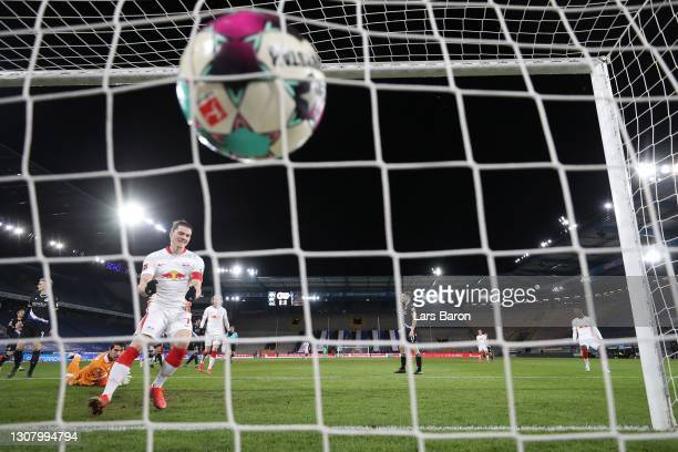 Marcel Sabitzer of Leipzig celebrates scoring the opening goal during the Bundesliga match between DSC Arminia Bielefeld and RB Leipzig at Schueco...