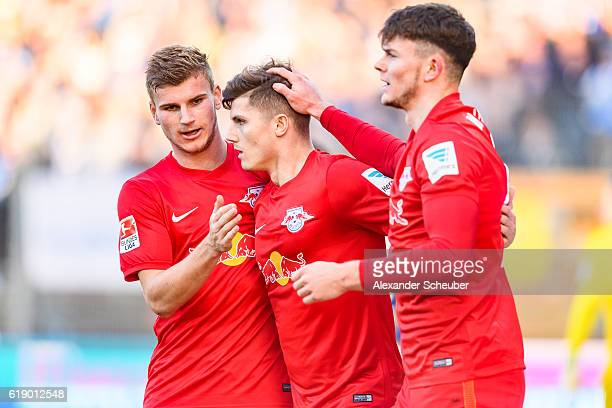 Marcel Sabitzer of Leipzig celebrates the second goal for his team with Timo Werner of Leipzig during the Bundesliga match between SV Darmstadt 98...