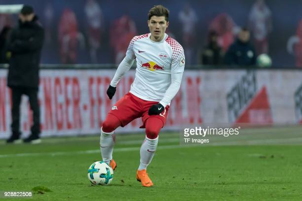 Marcel Sabitzer of Leipzig controls the ball during the Bundesliga match between RB Leipzig and Borussia Dortmund at Red Bull Arena on March 3 2018...