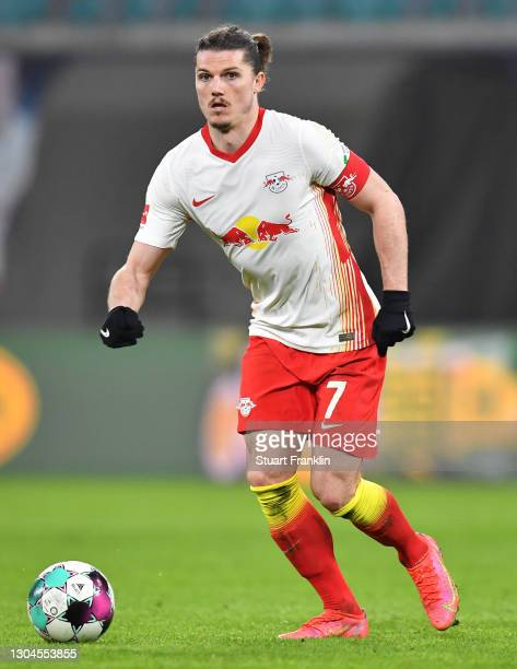 Marcel Sabitzer of Leipzig in action during the Bundesliga match between RB Leipzig and Borussia Moenchengladbach at Red Bull Arena on February 27,...