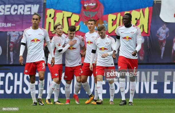 Marcel Sabitzer of Leipzig jubilates with team mates after scoring the first goal during the Bundesliga match between RB Leipzig and VfB Stuttgart at...