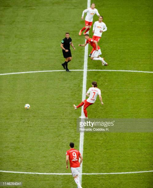 Marcel Sabitzer of Leipzig kicks off during the DFB Cup final between RB Leipzig and Bayern Muenchen at Olympiastadion on May 25 2019 in Berlin...