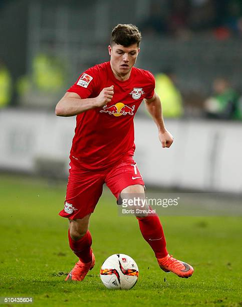 Marcel Sabitzer of Leipzig runs with the ball during the Second Bundesliga match between FC St Pauli and RB Leipzig at Millerntor Stadium on February...