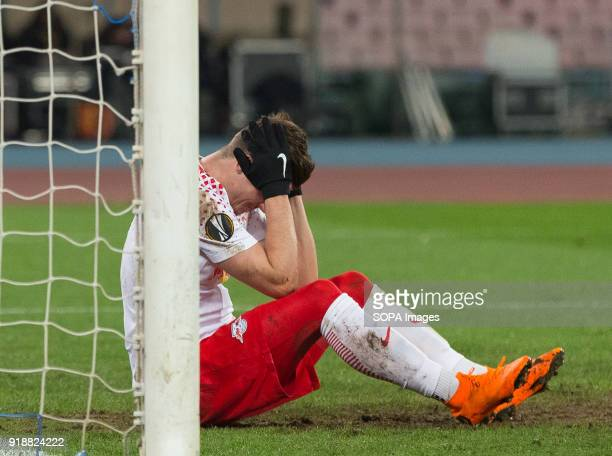 STADIUM NAPLES CAMPANIA ITALY Marcel Sabitzer of Lipsia seen injured on the ground during the UEFA Europa League match between SSC Napoli and RB...