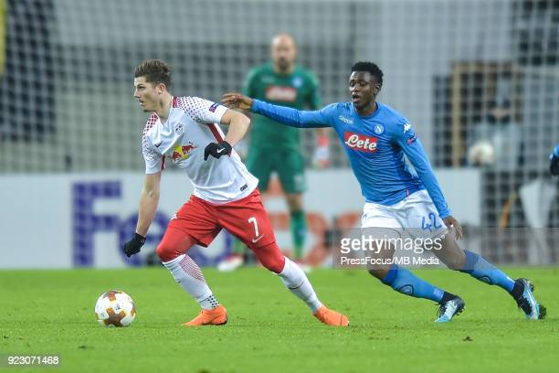 Marcel Sabitzer of RB Leipzig and Amadou Diawara of Napoli during UEFA Europa League Round of 32 match between RB Leipzig and Napoli at the Red Bull...