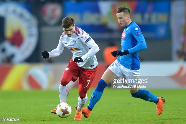 Marcel Sabitzer of RB Leipzig and Piotr Zielinski of Napoli during UEFA Europa League Round of 32 match between RB Leipzig and Napoli at the Red Bull...
