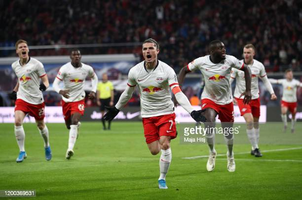 Marcel Sabitzer of RB Leipzig celebrates after scoring his sides second goal during the Bundesliga match between RB Leipzig and 1 FC Union Berlin at...