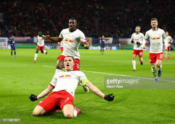 Marcel Sabitzer of RB Leipzig celebrates after scoring his sides first goal during the UEFA Champions League round of 16 second leg match between RB...