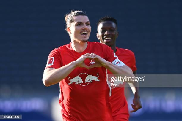 Marcel Sabitzer of RB Leipzig celebrates after scoring their side's first goal during the Bundesliga match between Hertha BSC and RB Leipzig at...