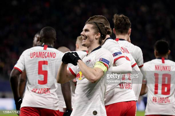 Marcel Sabitzer of RB Leipzig, celebrates his goal during the UEFA Champions League match between RB Leipzig v Tottenham Hotspur at the Red Bull...