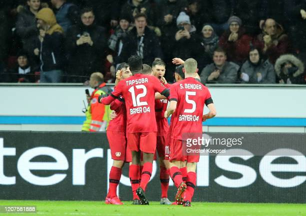 Marcel Sabitzer of RB Leipzig celebrates his sides first goal with his teammates during the UEFA Europa League round of 32 first leg match between...