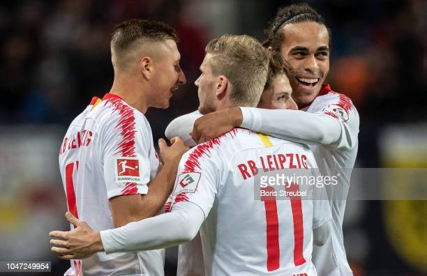 Marcel Sabitzer of RB Leipzig celebrates with team mates after scoring his team's fives goal during the Bundesliga match between RB Leipzig and 1 FC...
