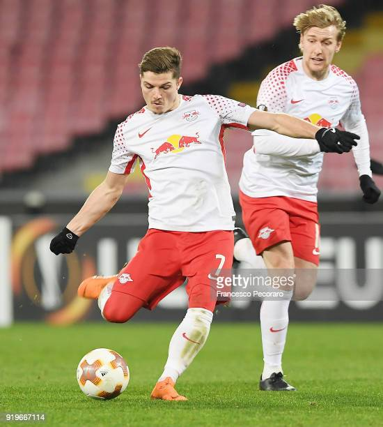 Marcel Sabitzer of RB Leipzig in action during UEFA Europa League Round of 32 match between Napoli and RB Leipzig at the Stadio San Paolo on February...