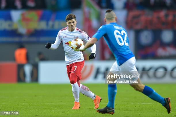 Marcel Sabitzer of RB Leipzig in action during UEFA Europa League Round of 32 match between RB Leipzig and Napoli at the Red Bull Arena on February...